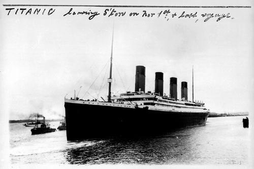 SS Titanic leaving Southampton.