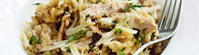 Rižoto sa bijelim vinom, piletinom i gljivama
