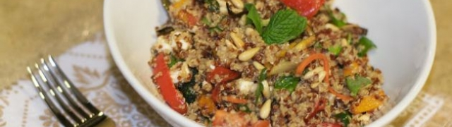 Delicious quinoa salad with roasted vegetables