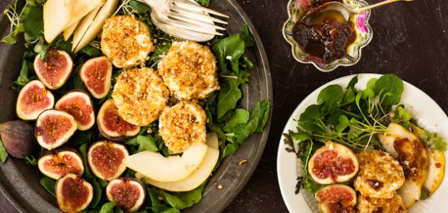 Rocket Goat Cheese Salad with Figs & Prosciutto