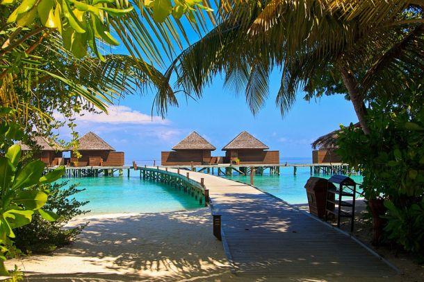 otočje maldivi plaža bungalovi