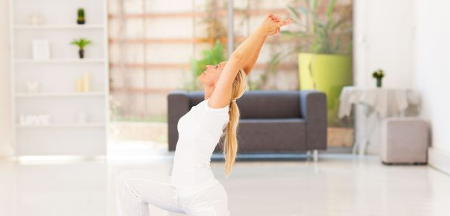 17533389 - senior woman doing exercise at home