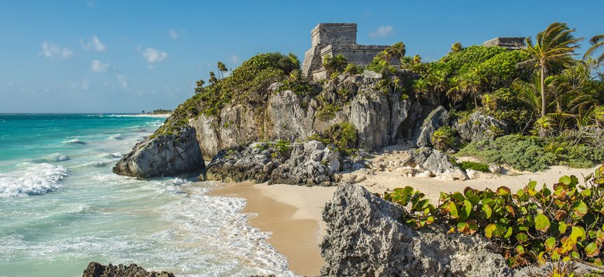 Hero,-Mayan-Ruins,-Coast,-Sea,-Trees,-Tulum,-Mexico