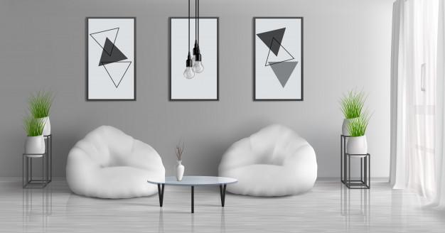 bijele fotelje interijer stana kuce